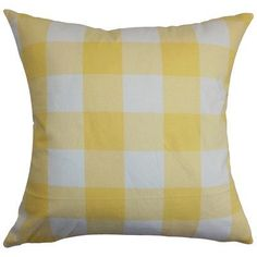 "The Pillow Collection Vedette Plaid Cotton Throw Pillow Color: Buttercup, Size: 20"" x 20"""