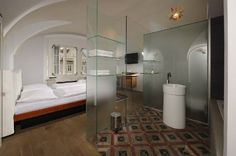 Superior rooms with glazed bathroom  Hotel Neruda in Prague.