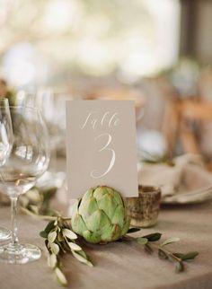 Artichoke table number holder ~ we ❤ this! moncheribridals.com