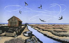 Niki Bowers - Thornham Sky linocut 18 x 29 cm Linocut Prints, Art Prints, Block Prints, Gravure Photo, Art And Illustration, Illustrations, Elements Of Art, Wood Engraving, Wood Print