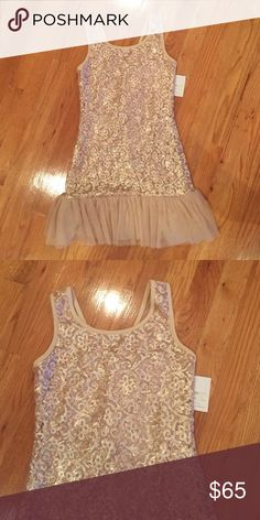 Champagne dress Champagne sequin dress bottom has tulle. Brand new. Dresses Formal