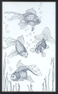 Золотые рыбки, бэкстич - Вышивка