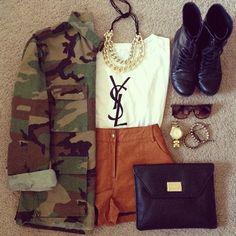 YSL. High waist shorts. Combat boots. Camo jacket.