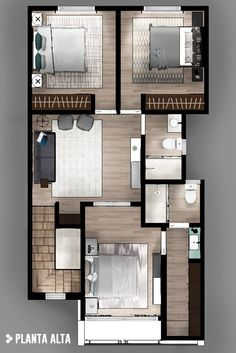 Modern style bedroom by cdr constructora modern Dream House Plans, Modern House Plans, Small House Plans, House Floor Plans, Apartment Plans, Apartment Design, Plans Architecture, Architecture Design, House Construction Plan