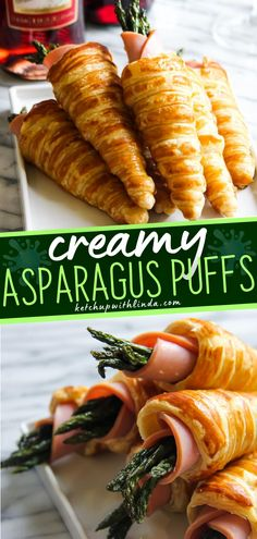 An easy appetizer menu that friends and family will love! Creamy Asparagus Puffs are quick and easy to make using puff pastry, smoked ham, cream cheese, and asparagus. Make this for potlucks, parties, or even game days! Save this pin! Gourmet Appetizers, Easy Appetizer Recipes, Yummy Appetizers, Easy Dinner Recipes, Easy Meals, Holiday Appetizers, Dinner Ideas, Ham Recipes, Side Dish Recipes