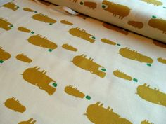 JAPANESE Yellow Hippos with a Green Apple by HoundstoothFabric, $13.99