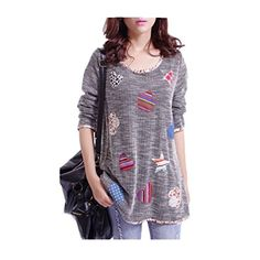 Dark Gray Women Long tshirt Sweaters size M ** Click for more Special Deals #HarajukuFashionJapan