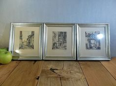 Vintage Colored Etchings Art Wall Hangings by RevivedTraditions, $98.00