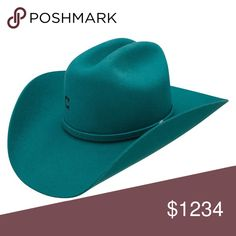 70485543d75d4 Look like a diva in this turquoise 4 x wool felt Charlie 1 Horse hat -  classic cowgirl styling with pinch crown and brim - matching hatband with  small ...