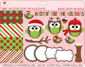 christmas clipart digital clip art animals owls by DigitalBakeShop
