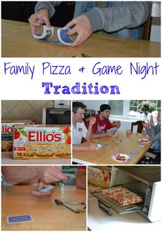 Our kids LOVE our family pizza and game night Tradition!  So many laughs and great memories. #ElliosPizza #ad