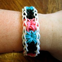 Starburst Rainbow Loom Bracelet  White by scraphappydesigns123