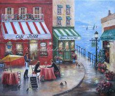 Cafe francés por el mar Lámina, amantes en Francia, arte de la pared, decoración de la pared, del café, arte Bisto, pinturas Chocolatier, arte Vickie Wade