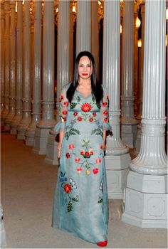 LACMA Trustee and co-chair Eva Chow wore a Gucci Cruise 2016 silk organza long sleeve gown with embroidered motifs by Alessandro Michele to the 2015 Art and Film Gala.