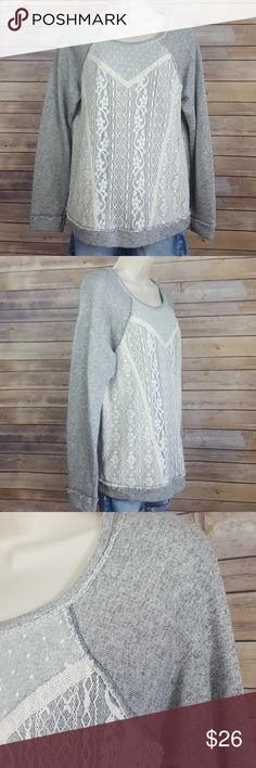 """Jolt gray sweatshirt with lace overlay Jolt brand,   One-of- a-kind Fall must- have! Heather light gray sweatshirt with lace overlay and frayed type edging on lace  and sweatshirt that adds so much detail,  lace overlay on front,  size Large,  measurements... 24 1/2"""" length, 21"""" sleeve length,  bust 20"""". Jolt Tops Sweatshirts & Hoodies"""