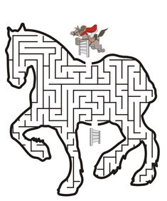 Horse printables include horse coloring pages, a word search puzzle, dot-to-dot puzzle, maze, and a preschool traceable page. Horse Party, Cowgirl Party, Printable Mazes, Free Printable, Printable Coloring, Mazes For Kids, Horse Birthday Parties, Horse Games, Horse Coloring Pages
