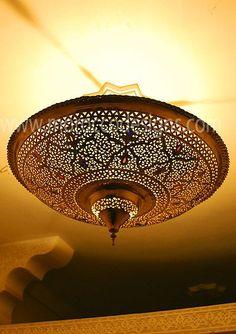 Moroccan brass lanterns and light fixtures style design Bedroom Ceiling Fan Light, Bedroom Light Fixtures, Bedroom Lighting, Moroccan Lighting, Moroccan Lamp, Moroccan Lanterns, Moroccan Ceiling Light, Moroccan Bedroom, Moroccan Interiors