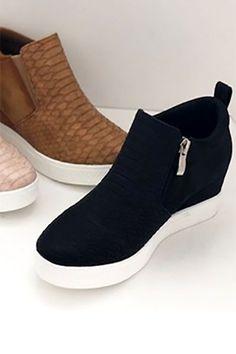 9389ed53fa463b Snake Textured Wedge Sneakers-Black Black Wedge Sneakers