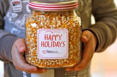 put the ribbon on the top and affix the labels it dresses right up. You can download the Happy Holiday labels here and the Cinnamon Sugar Popcorn Recipe Labels here. This really is the easiest Christmas gift ever. Now for the recipe…    Cinnamon Sugar Popcorn Recipe    Ingredients:  1/2 cup organ...