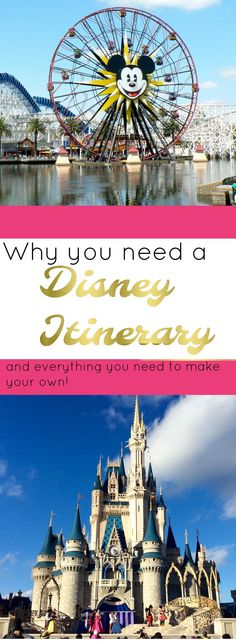 Having an itinerary is the trick to getting the most of your Disney vacation. Planning and preparation are the key to a successful day in the parks and keeping everyone in your group happy Disneyland Vacation, Disneyland Tips, Disney Vacation Planning, Disney World Planning, Trip Planning, Vacation Ideas, Disneyland California, Florida Vacation, Vacation Spots