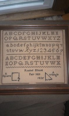 Rachel Ellicott's first sampler an R & R Reproduction Chart http://dyeing2stitch.com/subpage.php?page=101