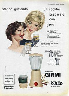 La declinazione chic del muitfrullatore Girmi illustrata da due signore, la mora e la bionda, intente a gustare un cocktail preparato con l'elettrodomestico, 1958   #TuscanyAgriturismoGiratola