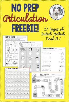 FREE No Prep Artic! 27 pages for Initial, Medial, Final /L/