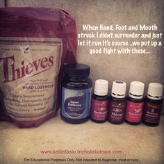 Diffused combo of Purification & Thieves. Diluted Thieves in a roll-on to use on my 2 year olds feet and spine. Coconut oil & lavender on red spots on hands & Thieves on spots on feet (spots gone the next day). I used InnerDefense daily. When the sores started to appear on my tongue I rinsed with Thieves Mouthwash and sucked on a Thieves throat Lozenge...stopped the sores in their tracks and gone the next day. In addition to Thieves on my feet, Frankincense on my spine & Melaleuca on my… Hand And Mouth Disease, Hand Foot And Mouth, Natural Essential Oils, Young Living Essential Oils, Essential Oil Blends, Young Living Kids, Throat Lozenge, Young Living Thieves, Oil Uses
