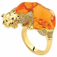 """Fire opal and diamond """"Lion"""" ring by Forever Jewels"""