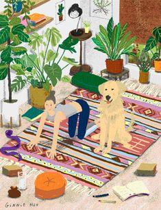 Earlier this week, I came across the colorful illustrations of Ginnie Hsu , and my imagination was immediately captured. Illustration Art Dessin, Plant Illustration, Gifs, Art Mignon, Yoga Art, Art Template, Illustrations And Posters, Images Gif, Painting Inspiration