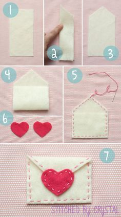 It's Crystal from stitched by Crystal. I am here today sharing a quick tutorial for these cute valentine envelopes! Valentine's Day is coming quick! I love giving and receiving handmade val Valentines Day Decorations, Valentine Day Crafts, Holiday Crafts, Printable Valentine, Homemade Valentines, Valentine Box, Valentine Wreath, Valentine Ideas, Felt Diy