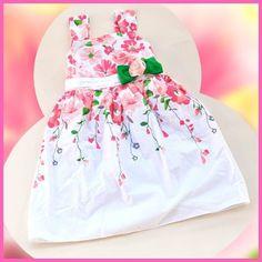 2015 flores de algodão vestido de verão vestidos menina moda menina vestido de festa retailD034(China (Mainland))