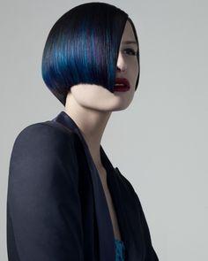 punk deco blue black hair bob