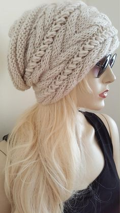 f2e123ce47a Slouchy Hut Slouchy Beanie Cable Hat Hand Knit Winter Women Beanie Knitting  Patterns Free