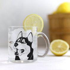 Unique black Siberian Husky design. Black Siberian Husky, Clear Glass, Tea, Canning, Mugs, Unique, Tableware, Design, Dinnerware