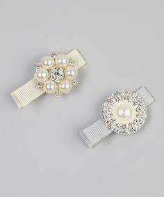 Take a look at this Ivory & Silver Rhinestone Clip Set by Charlotte Rose Couture on #zulily today!