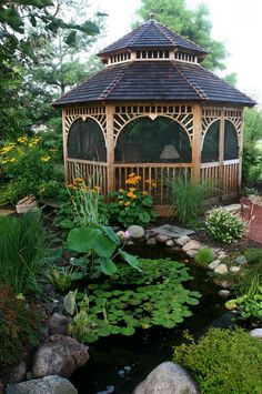 Gazebo next to water garden