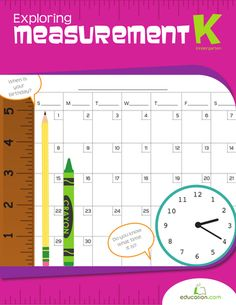 Help your kindergartener explore the world of measurement with whimsical worksheets that highlight how to use a ruler, how to read a clock and how to fill in a calendar.