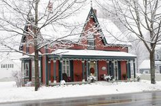 Quartermain House, a classic Gothic Revival Style, built around 1840 on historic Waterloo Row along the river in picturesque Fredericton, NB, Canada.
