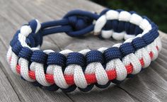 Memorial Day and 4th of July Red White Blue Paracord Bracelet with Loop Closure