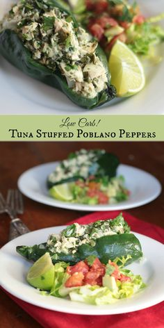 Low carb tuna stuffed poblano peppers are full of Tex-Mex flavor but without the carbs. From Lowcarb-ology.com