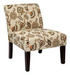 Delano Contemporary Avignon Orange Wood Fabric Desk Chair