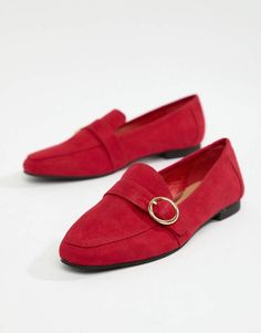 cc1a57f1d Head Over Heels by Dune Gisellaa Red Suedette Buckled Flat Loafer Shoes #ad  #redshoes