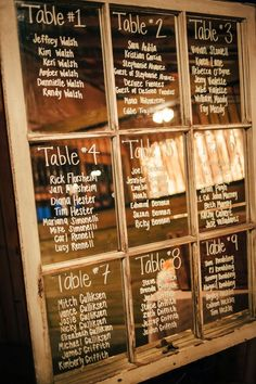 Seating chart glass -  Darin Crofton Photography - KnotsVilla