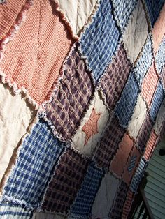 Rag Quilt in Large Throw Size Frontier by KristinsCountryHome, $149.00