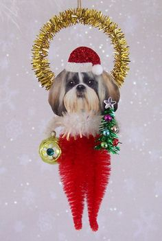 Shih Tzu Christmas Ornament Feather Tree by TreePets on Etsy, $12.95