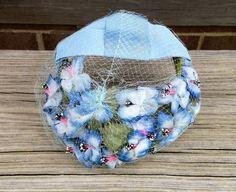 Vintage Blue Floral Fascinator   Cocktail Hat