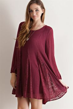 Lace Crinkle Shift Dress - Burgundy - Knitted Belle Boutique  - 2