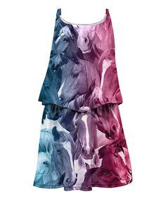 Burgundy & Blue Horse Sublimation Layered Dress - Toddler & Girls by Mr. Gugu & Miss Go #zulily #zulilyfinds