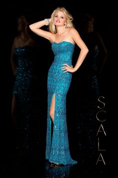 #SCALA Spring 2016 style 48589 Bright Turquiose! #scalausa #spring2016 #prom2016 #gown #promdress #eveningwear #dress #sequins #specialoccasion #prom2k16 www.scalausa.com